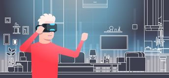 Man Wearing 3d Glasses In Vr Room Interior Virtual Reality Technology Concept. Flat Vector Illustration Royalty Free Stock Image