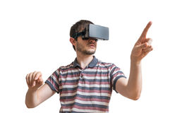 Man is wearing 3D virtual reality headset. Isolated on white background Stock Photos
