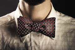 Man wearing an elegant bow tie Royalty Free Stock Images