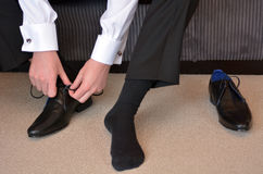 Man wearing elegant men  shoes Royalty Free Stock Photos