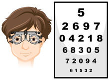 Man wearing eye test glasses and reading chart royalty free illustration