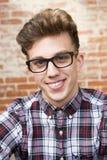 Man Wearing Eyeglasses And Smiling Stock Photos