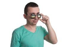 Man Wearing Fashionable Sunglasses On Isolated White Background Stock Image
