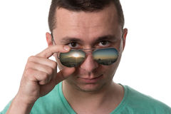 Man Wearing Fashionable Sunglasses On Isolated White Background Stock Images