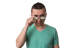 Man Wearing Fashionable Sunglasses On Isolated White Background Royalty Free Stock Image