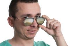 Man Wearing Fashionable Sunglasses On Isolated White Background Stock Photos