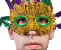 Man Wearing Feather Mask. Closeup view of a man wearing a feather mask, isolated against a white background Stock Photography