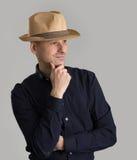 Man wearing fedora hat Royalty Free Stock Images
