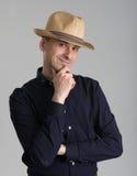 Man wearing fedora hat Stock Images