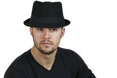 Man Wearing Fedora. Portrait of Man Wearing Fedora stock photo