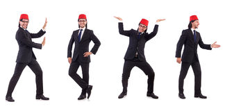 The man wearing fez hat isolated on white Stock Photo