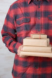 Man Wearing Flannel Shirt With Presents Stock Images