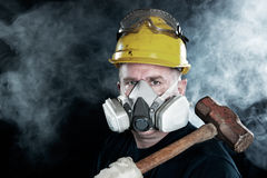 Man wearing gas mask Royalty Free Stock Photography