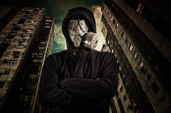 Man wearing gas mask Stock Images