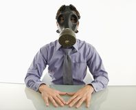 Man wearing gas mask. Stock Photos