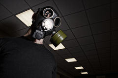 Man wearing gas mask in office room. Lights and ceiling visible in the background royalty free stock photo