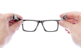 A man wearing glasses to improve vision. Stock Photography