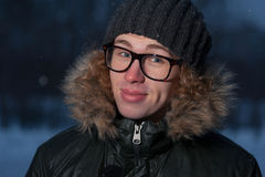 Man wearing glasses on winter background Stock Photos