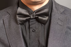 Man wearing a gray suit and black bow tie. On gray background Stock Images