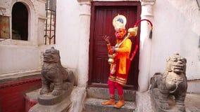 Man wearing Hanuman costume Stock Images