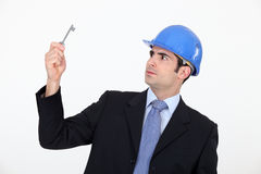 Man wearing hard hat Stock Image