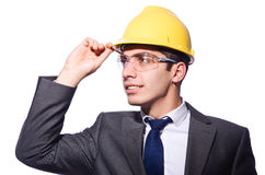 Man wearing hard hat isolated Royalty Free Stock Photos