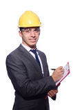 Man wearing hard hat isolated Stock Photo
