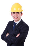 Man wearing hard hat Stock Photo