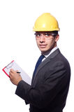 Man wearing hard hat isolated Stock Image