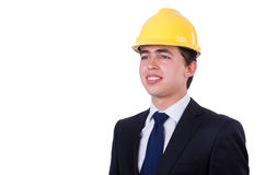 Man wearing hard hat isolated Stock Photos