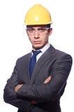 Man wearing hard hat isolated Stock Image