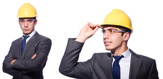 The man wearing hard hat isolated on white Stock Image