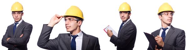 The man wearing hard hat isolated on white Royalty Free Stock Photography