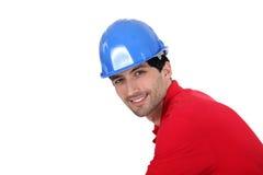 Man wearing a hardhat Stock Image