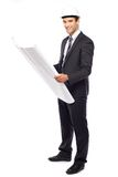 Man wearing a hardhat holding plans Royalty Free Stock Image