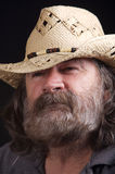 Man Wearing Hat. Portrait of a mature man with a beard wearing a cowboy hat Royalty Free Stock Photography
