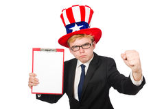 The man wearing hat with american symbols Royalty Free Stock Photo