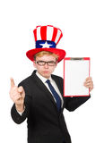 The man wearing hat with american symbols Stock Photography