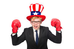 The man wearing hat with american symbols Royalty Free Stock Photos