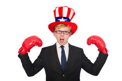 The man wearing hat with american symbols Stock Photo