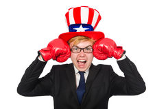 The man wearing hat with american symbols Royalty Free Stock Photography