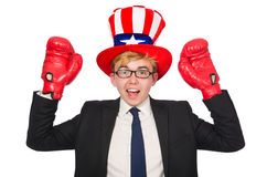 Man wearing hat with american symbols Royalty Free Stock Images