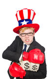 Man wearing hat with american symbols Royalty Free Stock Photo