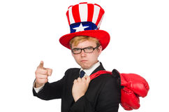 Man wearing hat with american symbols Stock Image