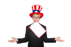 Man wearing hat with american symbols Royalty Free Stock Photos