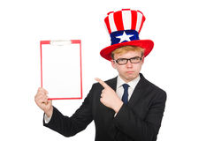 Man wearing hat with american symbols Stock Photo