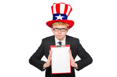 Man wearing hat with american symbols Stock Photography