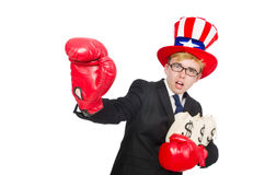 The man wearing hat with american symbols Stock Photos