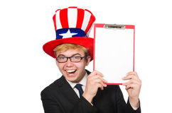 The man wearing hat with american symbols Royalty Free Stock Images