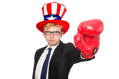 The man wearing hat with american symbols Royalty Free Stock Image